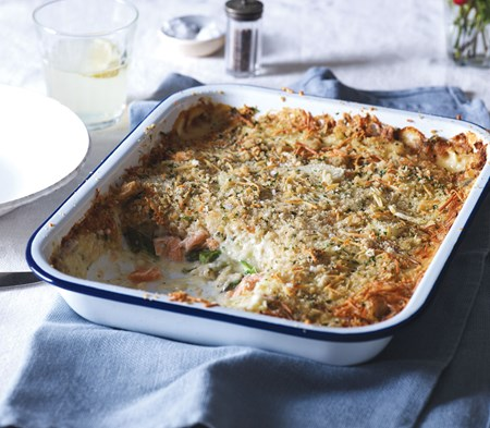 COOK Salmon Gratin baked in a tray, available at at Farmer Copleys Farm Shop.